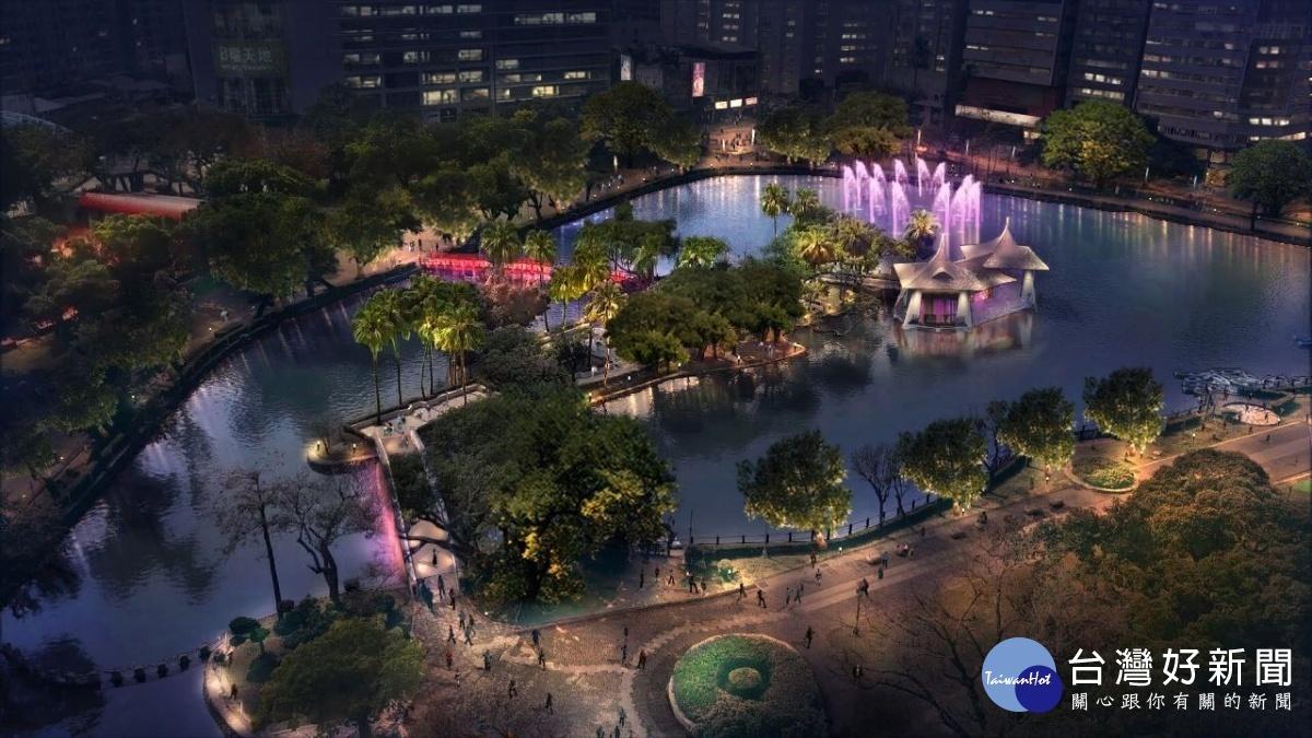 台中公園打造夜間光景 七夕浪漫點燈