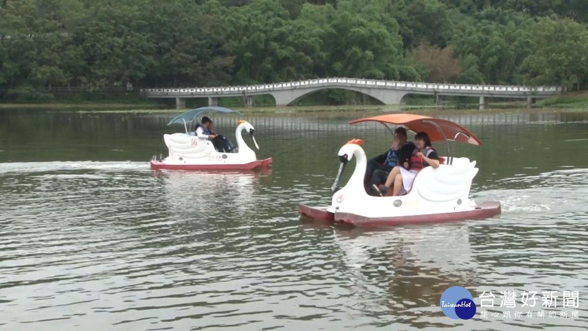 天鵝船強勢回歸 搭配立式划槳行銷青草湖