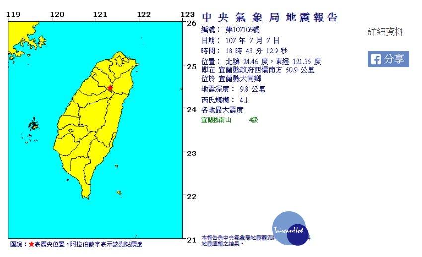 快訊/18:43宜蘭發生規模4.1地震 震源深度10公里