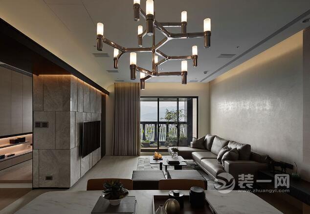 158平米四室兩廳裝修效果圖 客廳書房一體設計案例